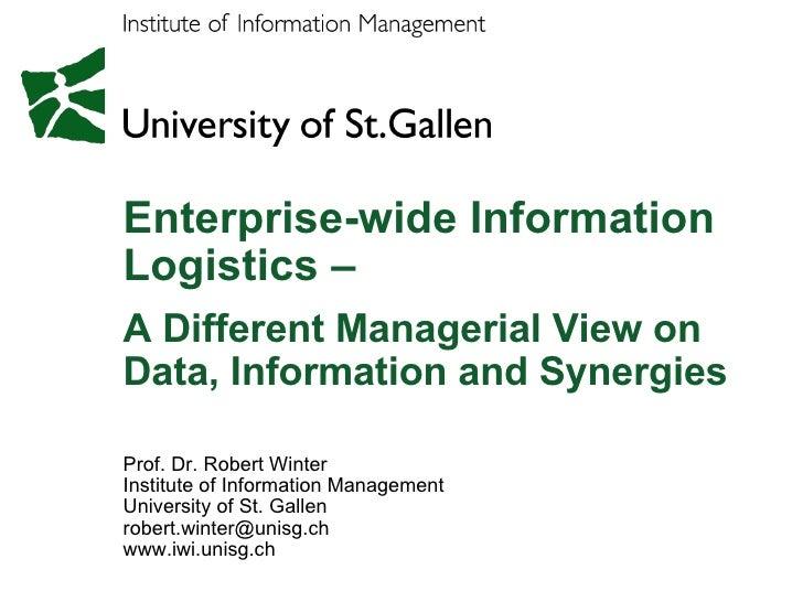 Robert Winter - Enterprise Wide Information Logistics - Data Quality Summit 2008