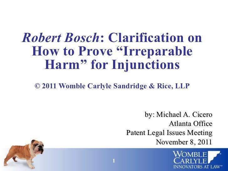 Robert Bosch case (Proving Irreparable Harm)