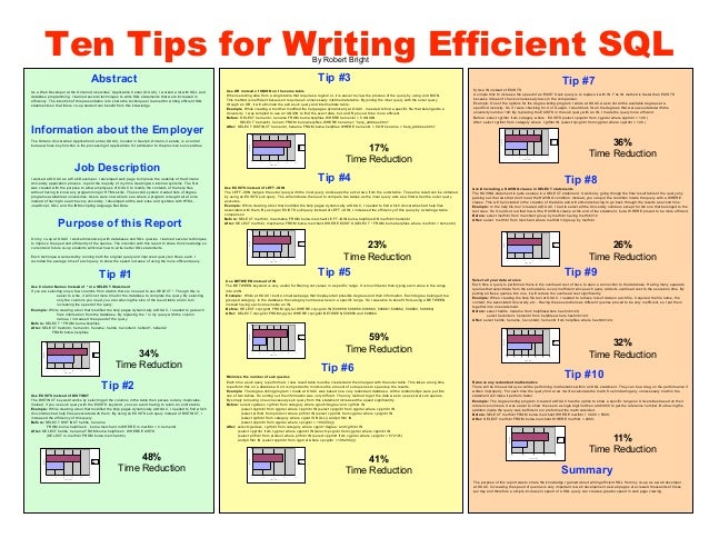 Ten Tips for Writing Efficient SQL                                                                                        ...
