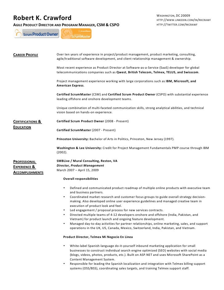agile methodology scrum resume