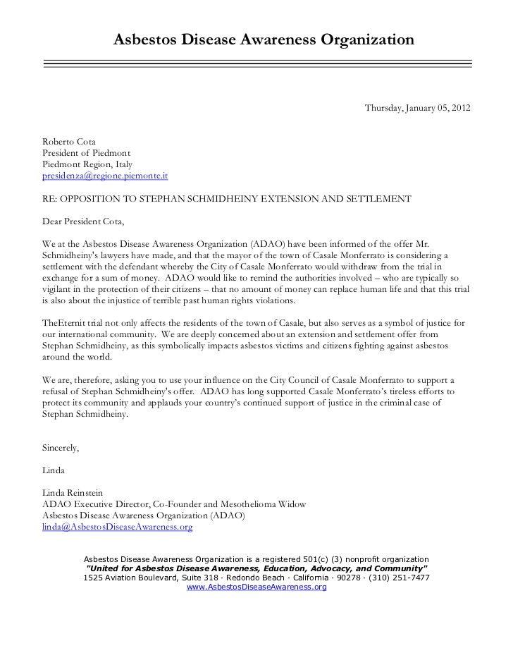 ADAO letter to: Roberto cota president of piedmont