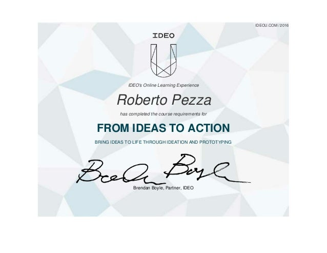 From idea to action ideo u certificate for Ideo product development