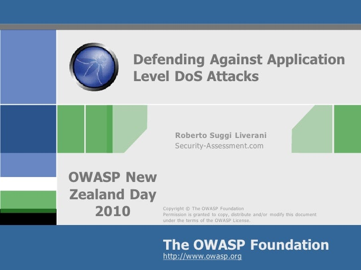 Defending Against Application         Level DoS Attacks                       Roberto Suggi Liverani                    Se...