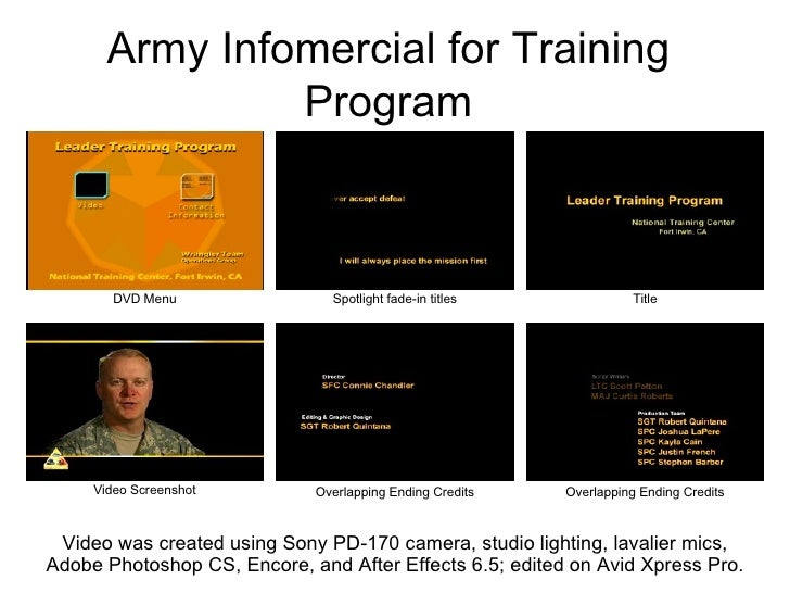 Army Infomercial for Training Program Title Spotlight fade-in titles Video was created using Sony PD-170 camera, studio li...