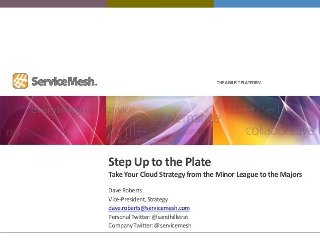 THE AGILE IT PLATFORMStep Up to the PlateTake Your Cloud Strategy from the Minor League to the MajorsDave RobertsVice-Pres...