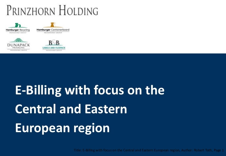 E-Billing with focus on the Central and Eastern European region