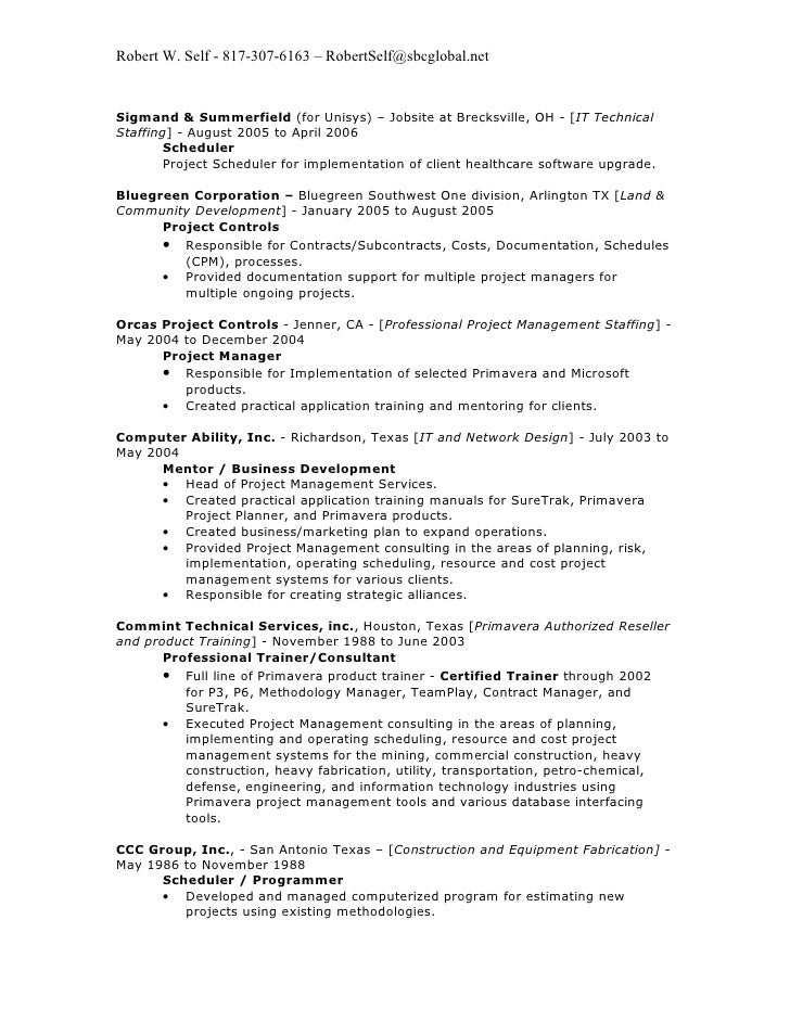 robert w self resume 2009