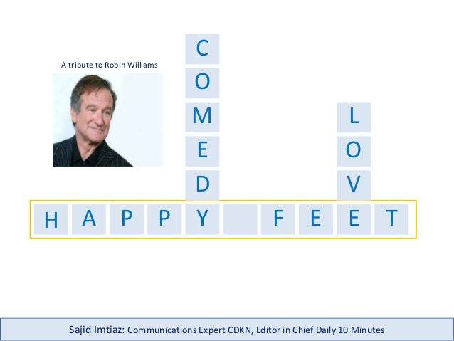 H A P P Y F E E T C M D E O O V Sajid Imtiaz: Communications Expert CDKN, Editor in Chief Daily 10 Minutes A tribute to Ro...