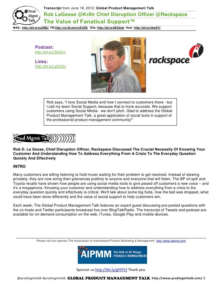 Transcript from June 18, 2012: Global Product Management Talk                     Rob LaGesse @Kr8tr Chief Disruption Offi...