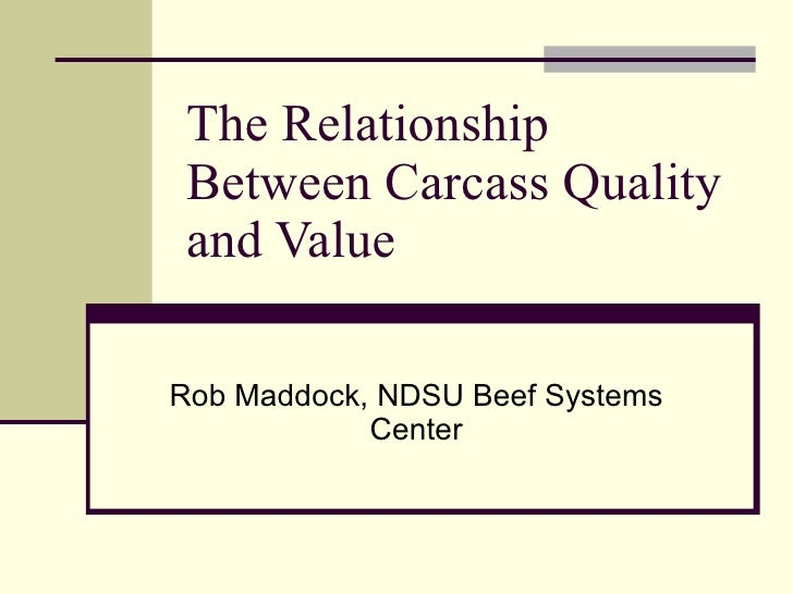 The Relationship Between Carcass Quality and Value