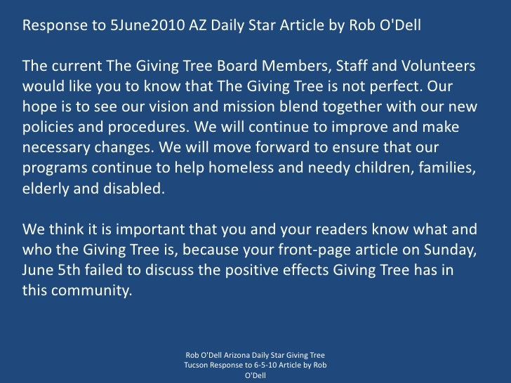 Rob O'Dell Arizona Daily Star Giving Tree Tucson Response to 6-5-10 Article by Rob O'Dell<br />Response to 5June2010 AZ Da...