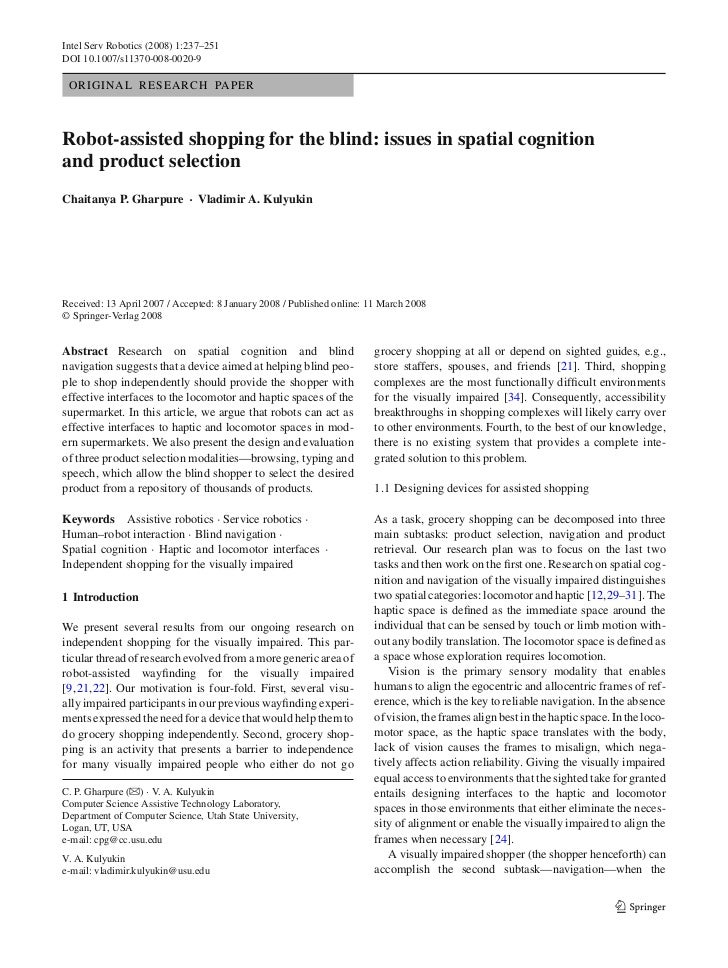 Robot-Assisted Shopping for the Blind: Issues in Spatial Cognition and Product Selection