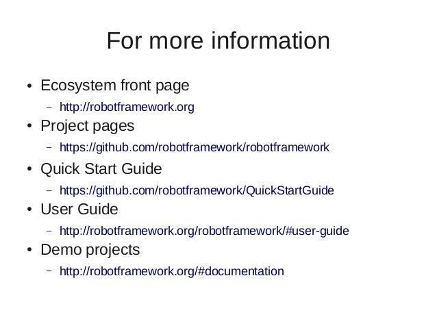 Robot framework user guide autos post