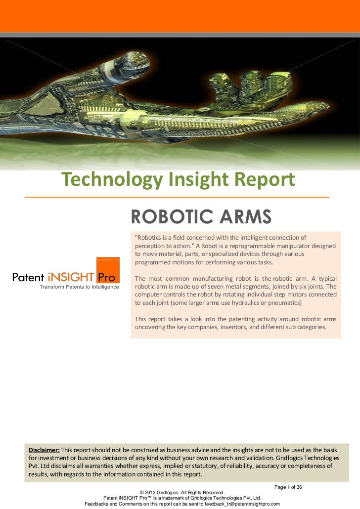 "Technology Insight Report                                        ROBOTIC ARMS                                          ""Ro..."