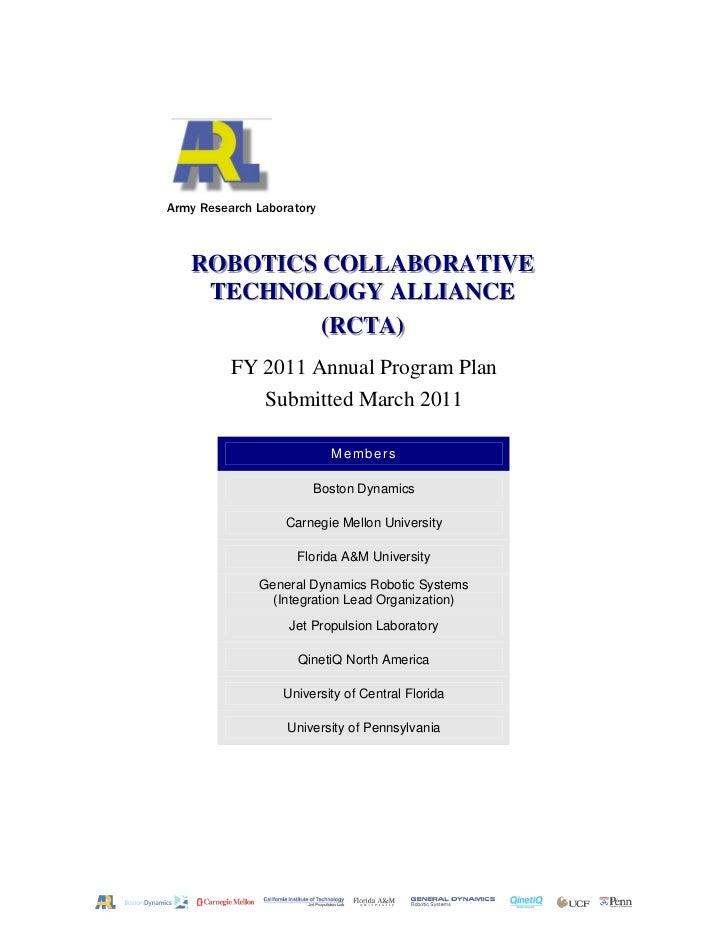 Robotics collaborative technology alliance (rcta) mar 2011