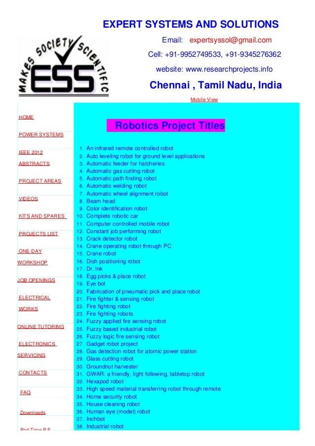Robotics projects - M.E, B.E, Ph.D, EEE, ECE, EIE Projects