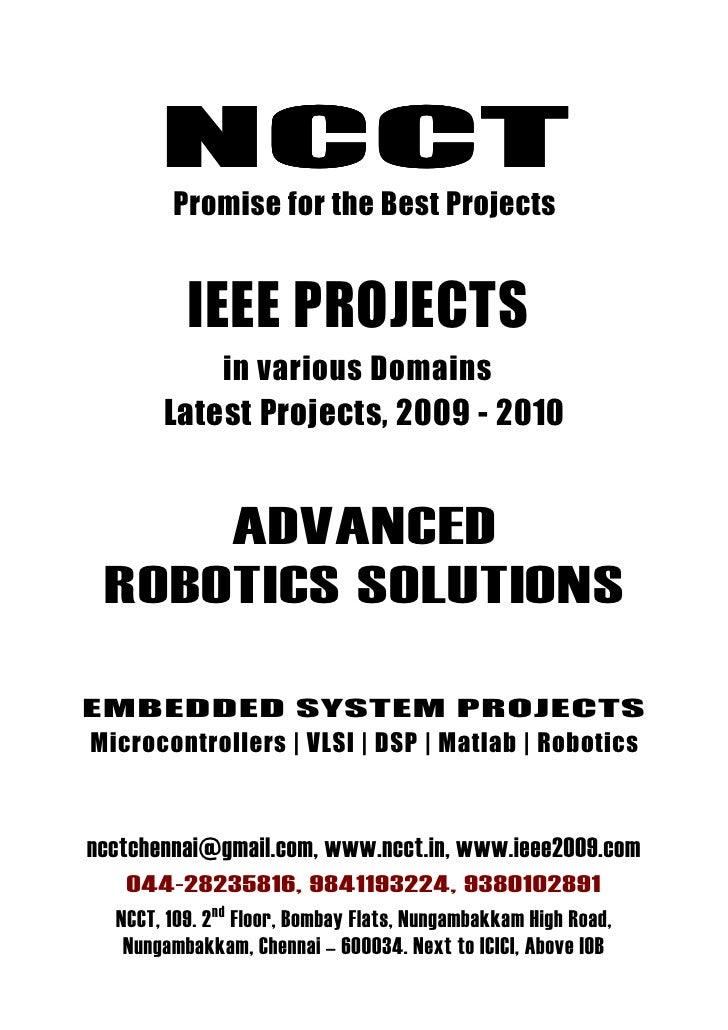 Robotics Project Titles, 2009   2010 Ieee Ncct Final Year Projects