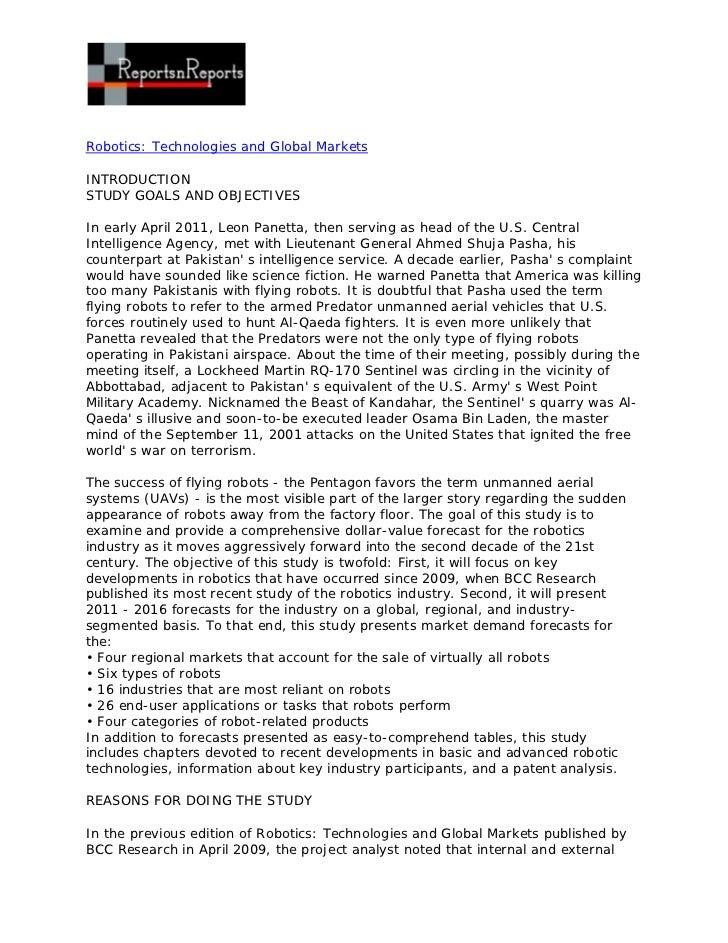 Robotics: Technologies and Global MarketsINTRODUCTIONSTUDY GOALS AND OBJECTIVESIn early April 2011, Leon Panetta, then ser...