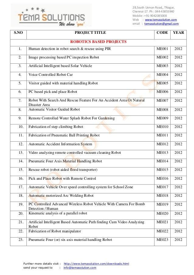 Robotics  titles for 2012