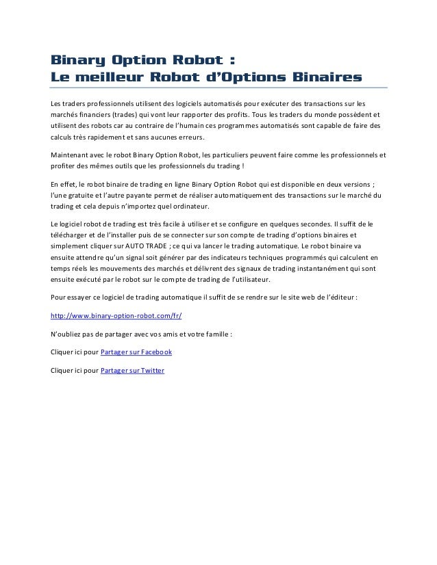 Trade automatique option binaire
