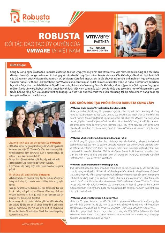 Các khóa đào tạo VMware ủy quyền tiêu biểu tại Robusta