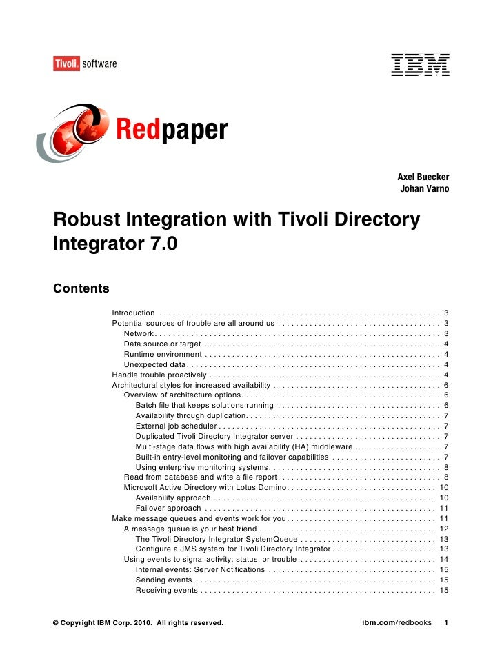Robust integration with tivoli directory integrator 7.0 redp4672