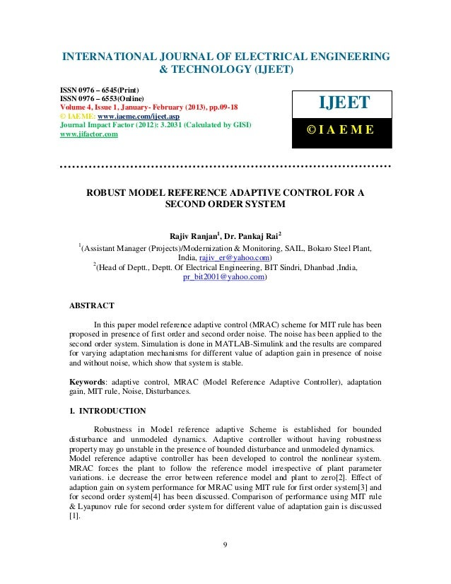 Robust model reference adaptive control for a second order system 2