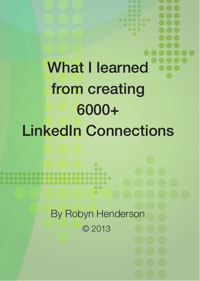 Robyn Henderson Linkedin Learnings 2013