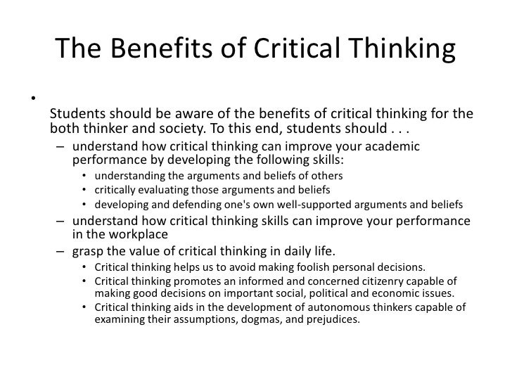 Benefit Of Critical Thinking