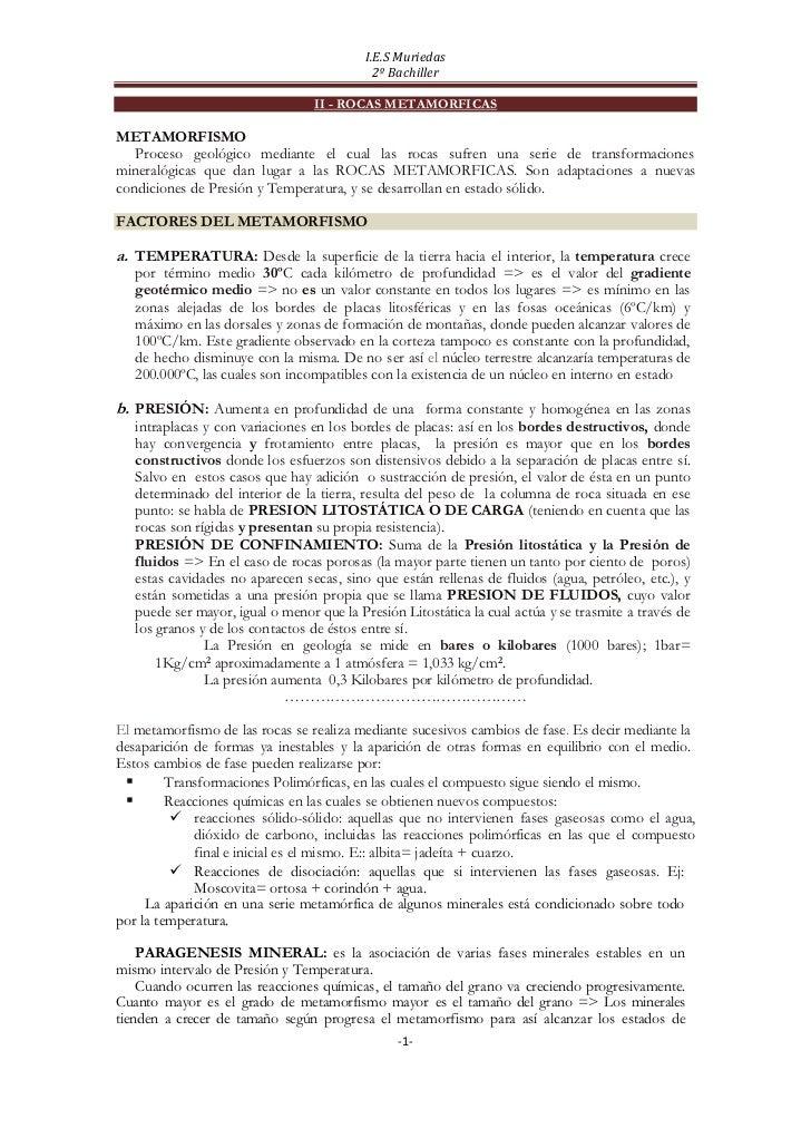 I.E.S Muriedas                                             2º Bachiller                                  II - ROCAS METAMO...