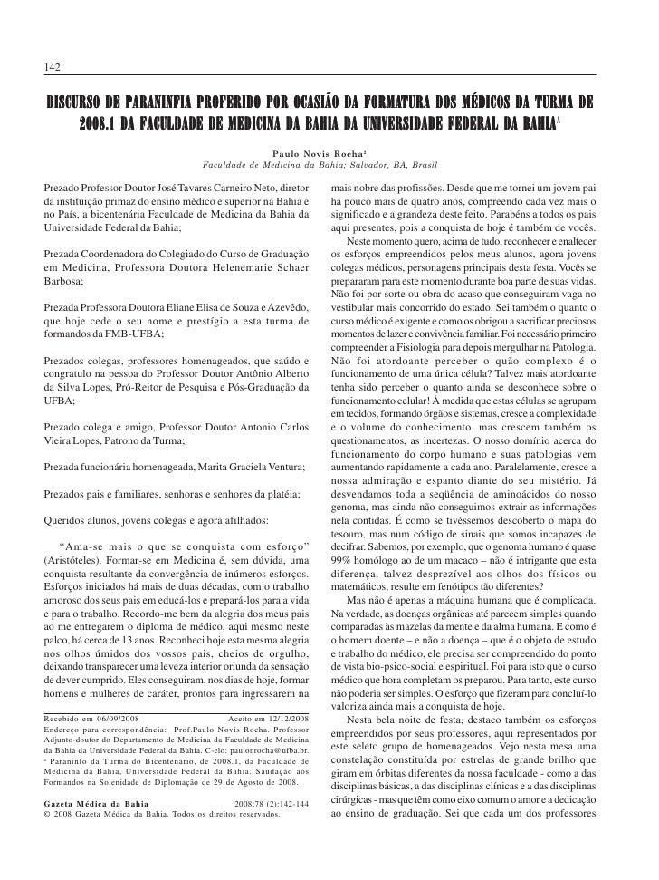 142                                        Paulo Novis Rocha                                        Gaz. méd. Bahia 2008;7...