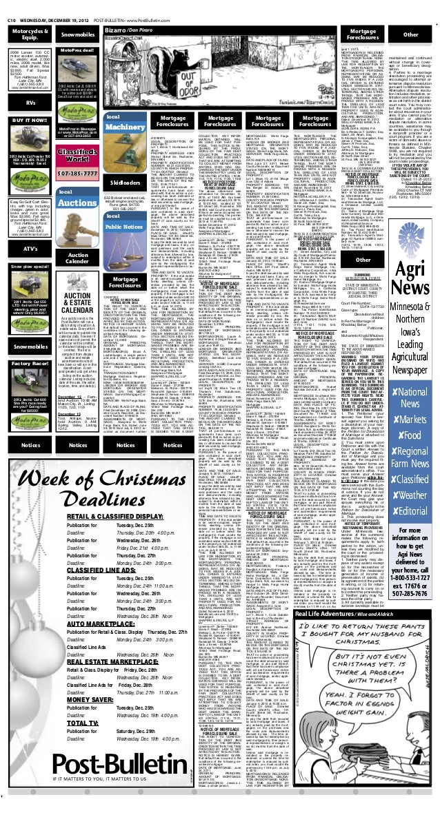 Public notices for Dec. 19, 2012