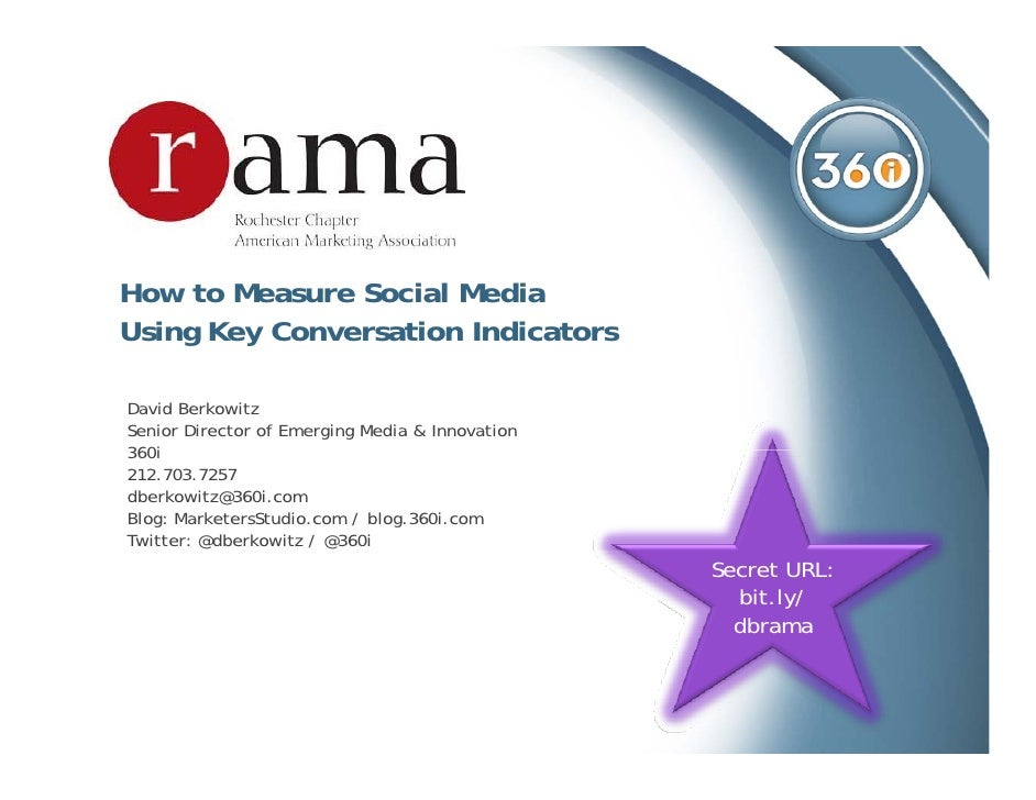 How to Measure Social Media Using Key Conversation Indicators  David Berkowitz Senior Director of Emerging Media & Innovat...