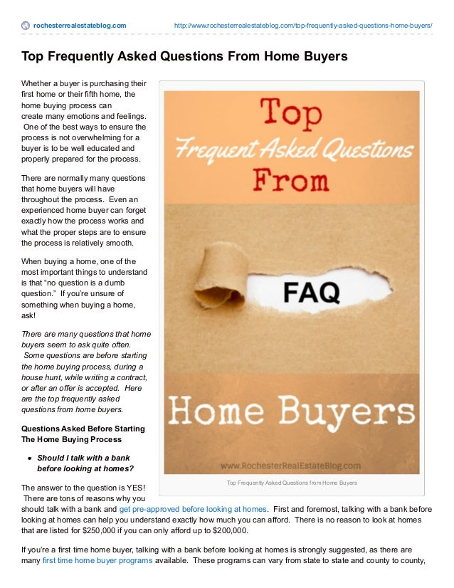 Top Home Buyer FAQ's | The Most Frequently Asked Questions ...