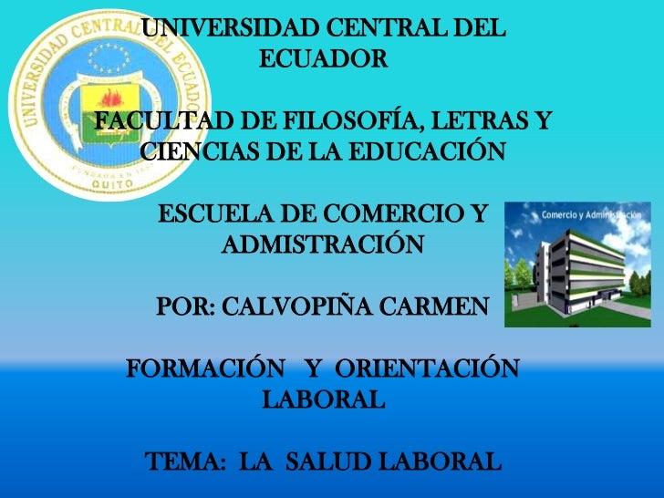 UNIVERSIDAD CENTRAL DEL           ECUADORFACULTAD DE FILOSOFÍA, LETRAS Y   CIENCIAS DE LA EDUCACIÓN    ESCUELA DE COMERCIO...