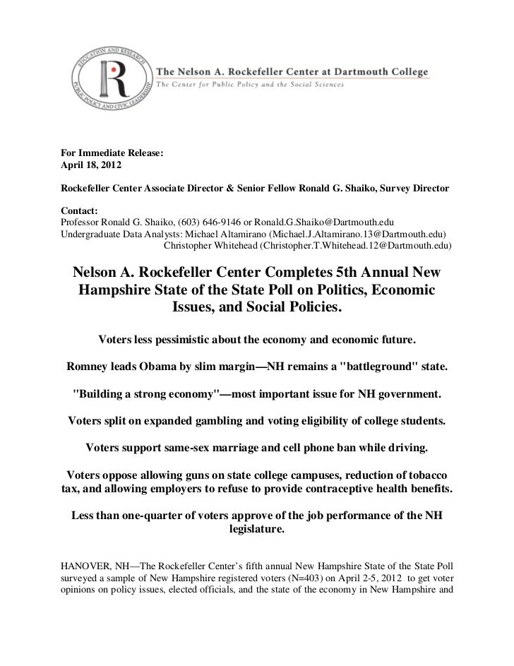 For Immediate Release:April 18, 2012Rockefeller Center Associate Director & Senior Fellow Ronald G. Shaiko, Survey Directo...