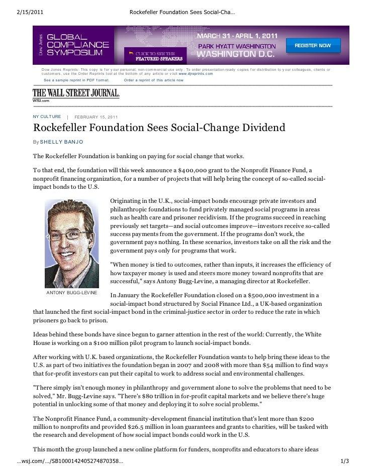 2/15/2011                                                  Rockefeller Foundation Sees Social-Cha…        Dow Jones Reprin...