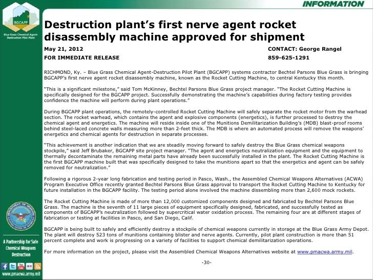 Destruction plant's first nerve agent rocketdisassembly machine approved for disassembly machine      Destruction plant's ...