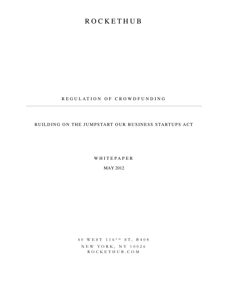 RocketHub Whitepaper - Regulation of Crowdfunding