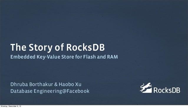 The Story of RocksDB Embedded Key-Value Store for Flash and RAM  Dhruba Borthakur & Haobo Xu Database Engineering@Facebook...