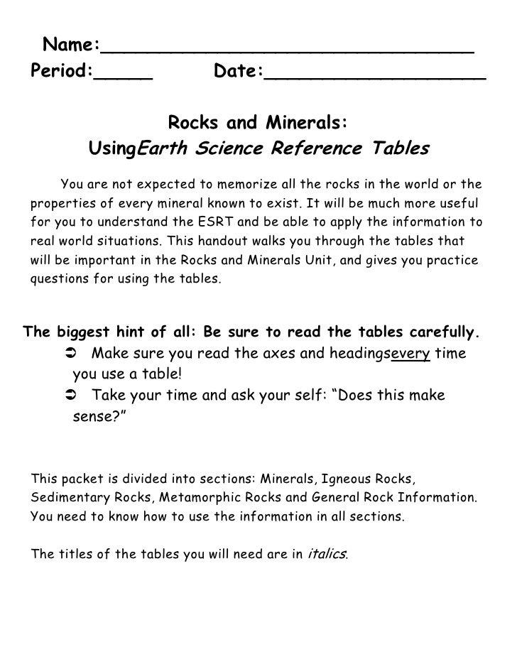 Rocks of the esrt guide