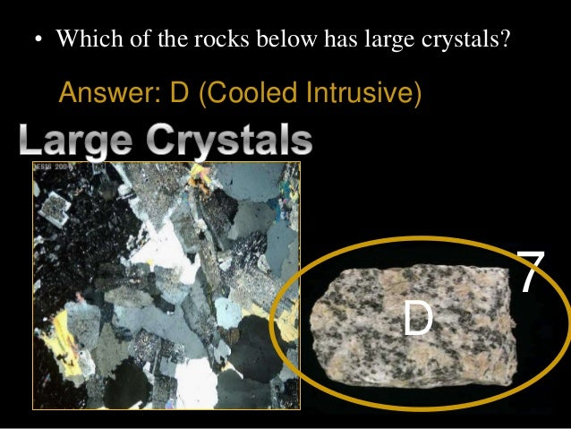 • Which of the rocks below has large crystals? D 7 Answer: D (Cooled Intrusive)