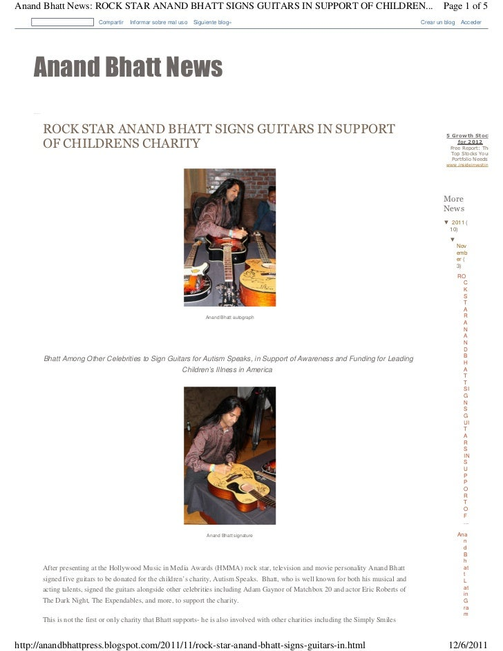 Rock star anand bhatt signs guitars in support of childrens charity