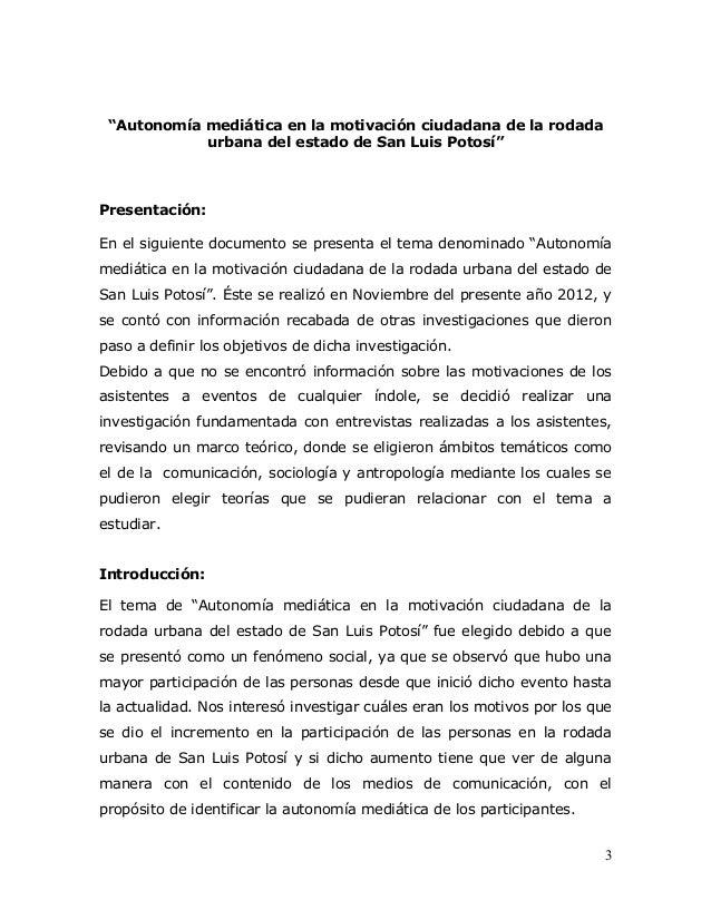 """""""Autonomía mediática en la motivación ciudadana de la rodada            urbana del estado de San Luis Potosí""""Presentación:..."""