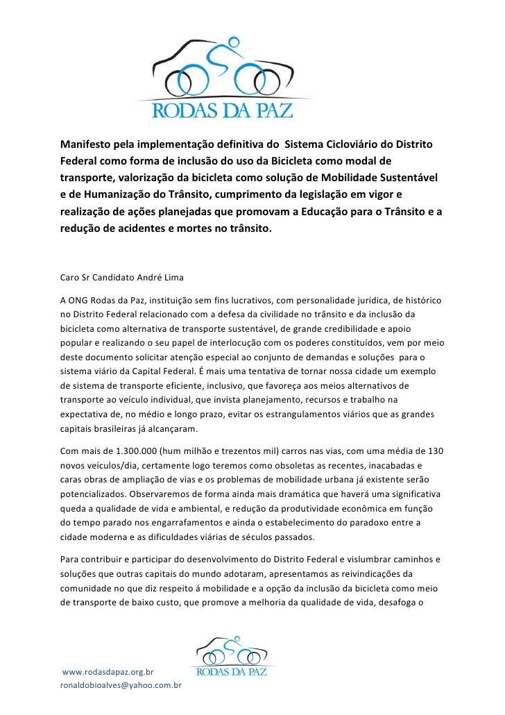 Manifesto pela implementação definitiva do Sistema Cicloviário do Distrito Federal como forma de inclusão do uso da Bicicl...