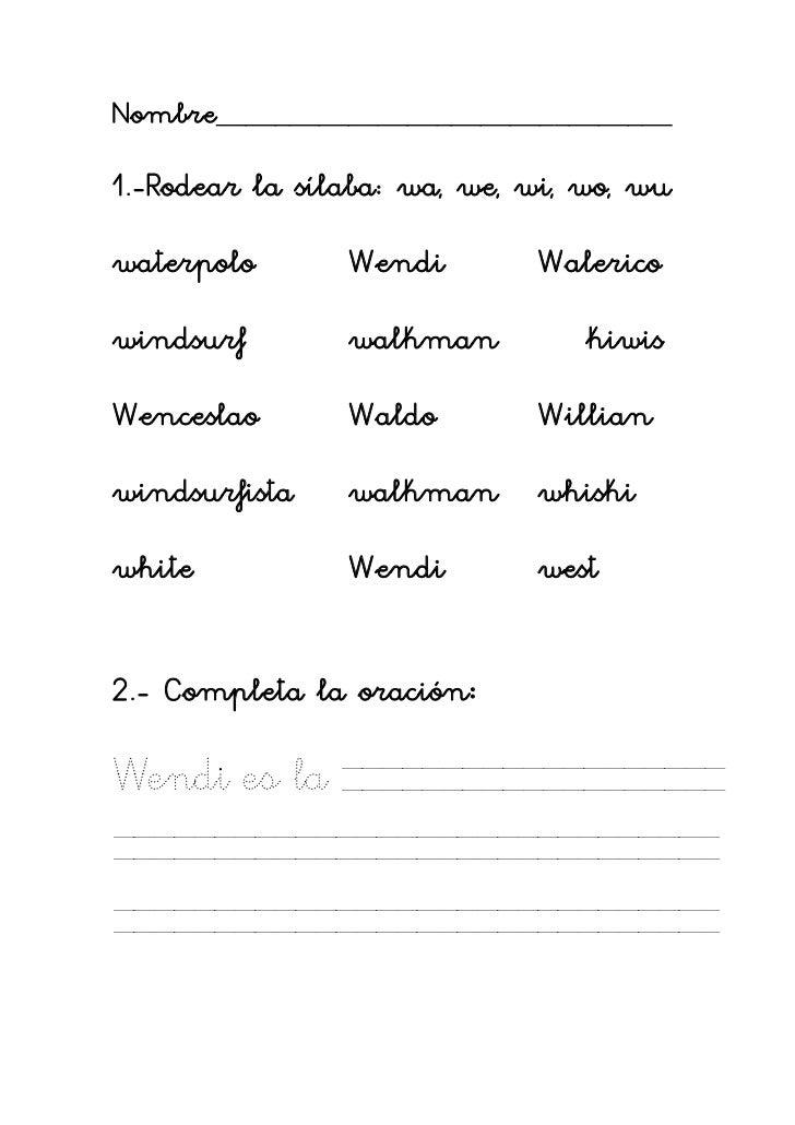 Trabajar con la letra w