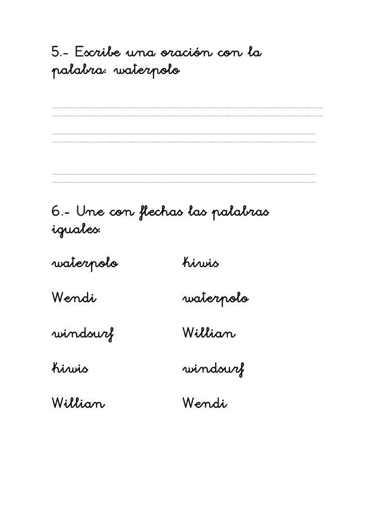 ... una oración con lapalabra waterpolo6 une con flechas View Image