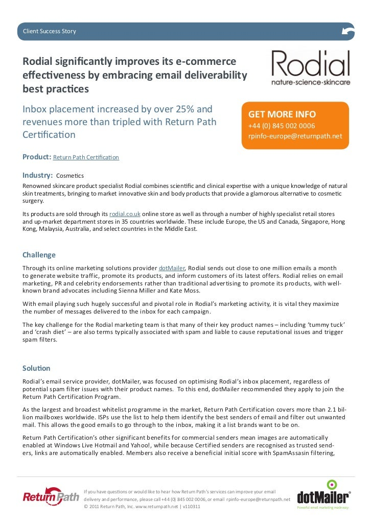 ClientStudy StoryCase SuccessRodial significantly improves its e-commerceeffectiveness by embracing email deliverabilitybe...