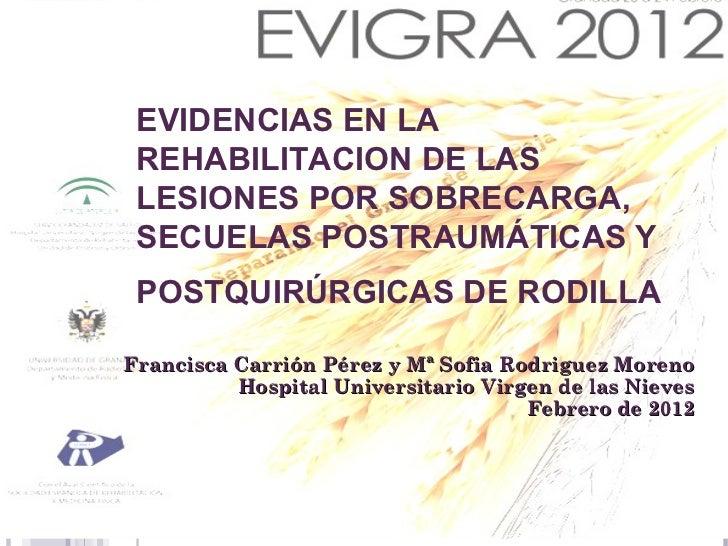 EVIDENCIAS EN LA REHABILITACIONDE LAS LESIONES POR SOBRECARGA,    EVIDENCIAS EN LA  SECUELAS POSTRAUMÁTICAS Y   REHABILITA...