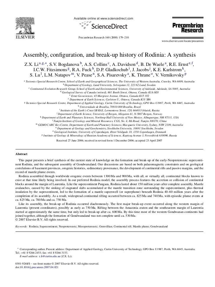Available online at www.sciencedirect.com                                                      Precambrian Research 160 (2...